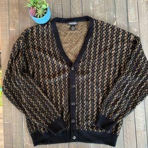 Jantzen | Black patterned knit sweater.